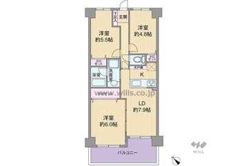 武庫川公園レックスマンション1450万円:間取り図