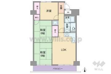 ニチモグリーンタウン茨木6番館1480万円:間取り図