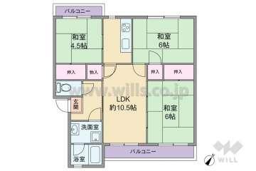 茨木郡山A住宅A26棟320万円:間取り図