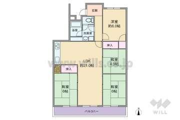 西城住宅1号棟600万円:間取り図