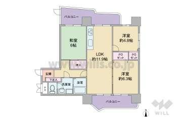 公団北緑丘第3住宅12号棟1438万円:間取り図